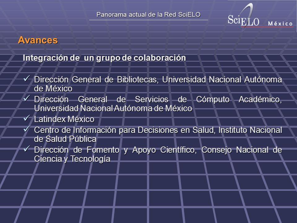 Panorama actual de la Red SciELO Avances Integración de un grupo de colaboración Dirección General de Bibliotecas, Universidad Nacional Autónoma de Mé