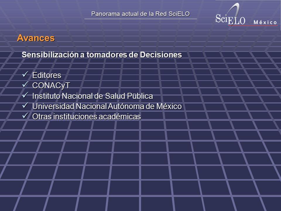 Panorama actual de la Red SciELO Avances Sensibilización a tomadores de Decisiones Editores Editores CONACyT CONACyT Instituto Nacional de Salud Pübli