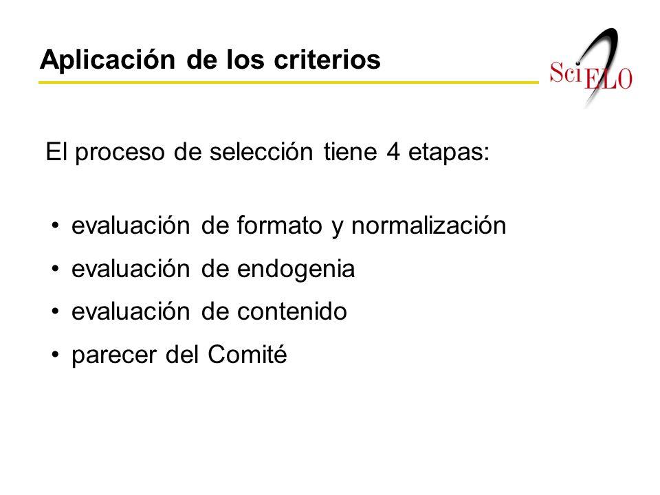 El proceso de selección tiene 4 etapas: Aplicación de los criterios evaluación de formato y normalización evaluación de endogenia evaluación de contenido parecer del Comité