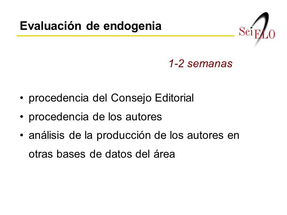 Evaluación de endogenia procedencia del Consejo Editorial procedencia de los autores análisis de la producción de los autores en otras bases de datos del área 1-2 semanas