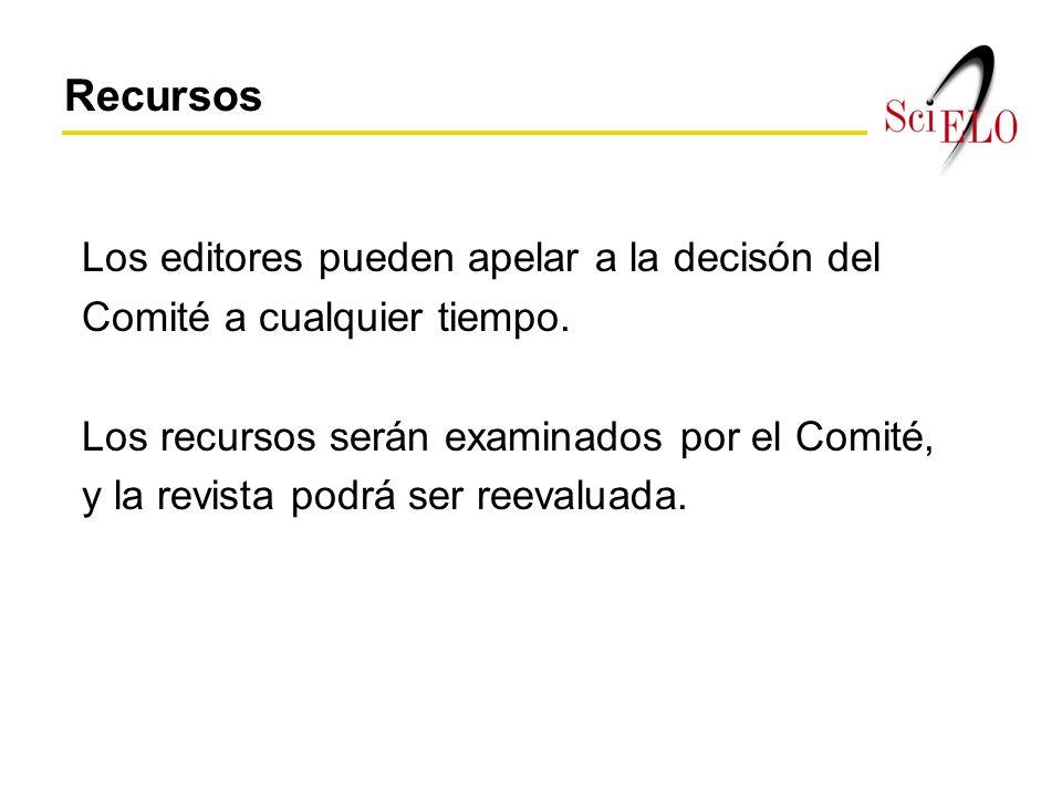 Los editores pueden apelar a la decisón del Comité a cualquier tiempo.