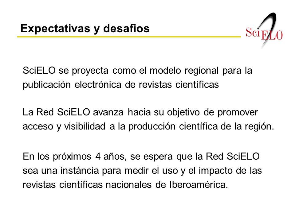 SciELO se proyecta como el modelo regional para la publicación electrónica de revistas científicas En los próximos 4 años, se espera que la Red SciELO sea una instáncia para medir el uso y el impacto de las revistas científicas nacionales de Iberoamérica.