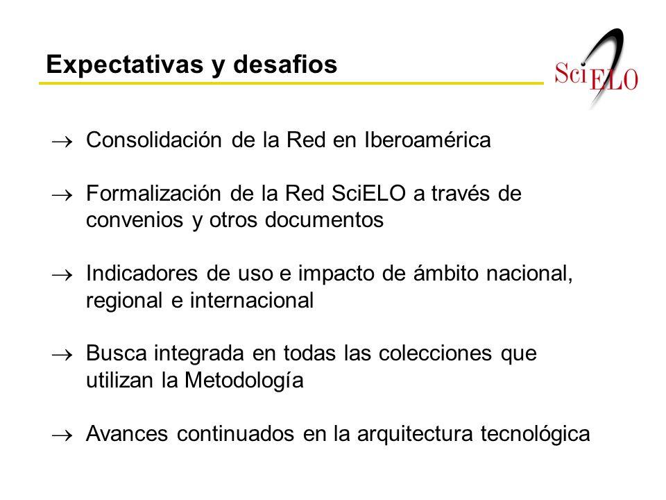 Expectativas y desafios Consolidación de la Red en Iberoamérica Formalización de la Red SciELO a través de convenios y otros documentos Indicadores de uso e impacto de ámbito nacional, regional e internacional Busca integrada en todas las colecciones que utilizan la Metodología Avances continuados en la arquitectura tecnológica