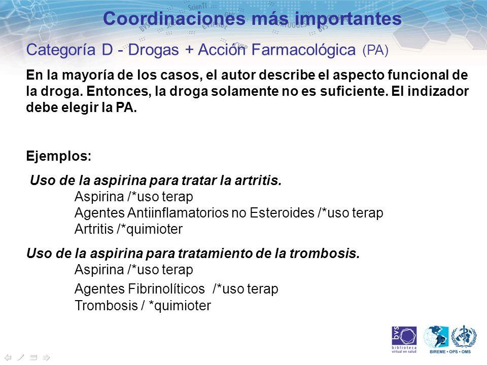 12 Coordinaciones más importantes Categoría D - Drogas + Acción Farmacológica (PA) En la mayoría de los casos, el autor describe el aspecto funcional