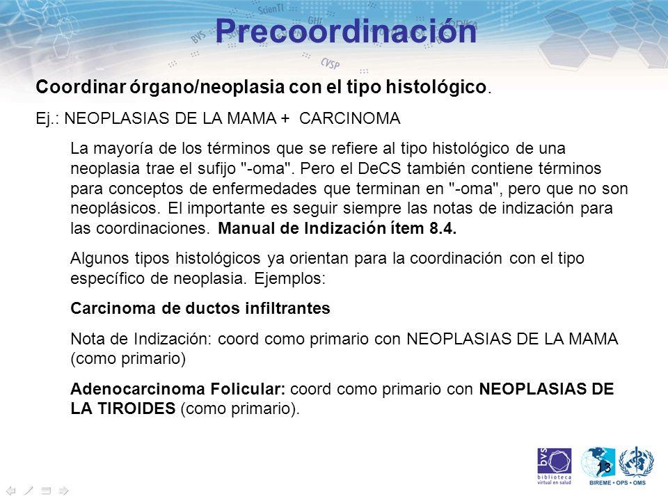 13 Precoordinación Coordinar órgano/neoplasia con el tipo histológico. Ej.: NEOPLASIAS DE LA MAMA + CARCINOMA La mayoría de los términos que se refier