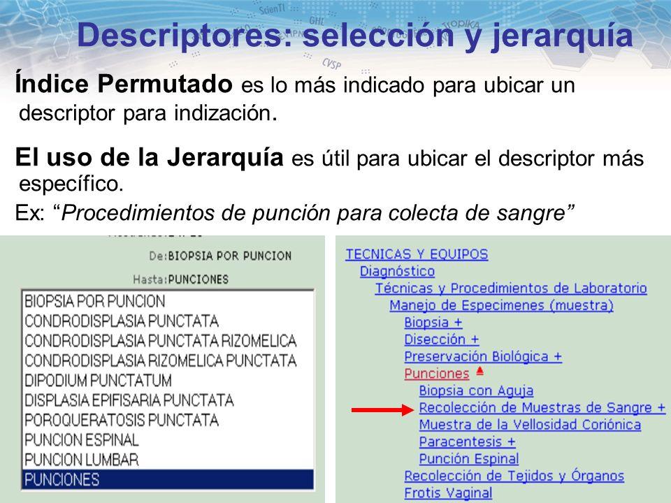 15 Descriptores: selección y jerarquía Índice Permutado es lo más indicado para ubicar un descriptor para indización. El uso de la Jerarquía es útil p