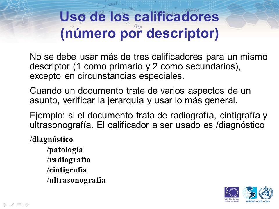 29 No se debe usar más de tres calificadores para un mismo descriptor (1 como primario y 2 como secundarios), excepto en circunstancias especiales. Cu
