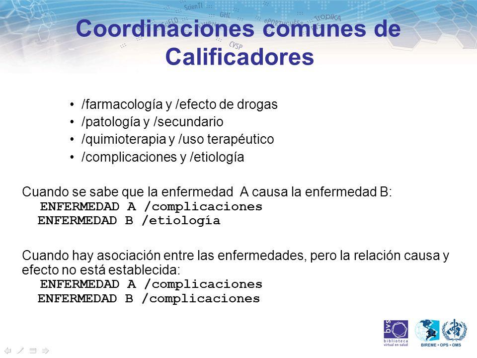 34 Coordinaciones comunes de Calificadores /farmacología y /efecto de drogas /patología y /secundario /quimioterapia y /uso terapéutico /complicacione