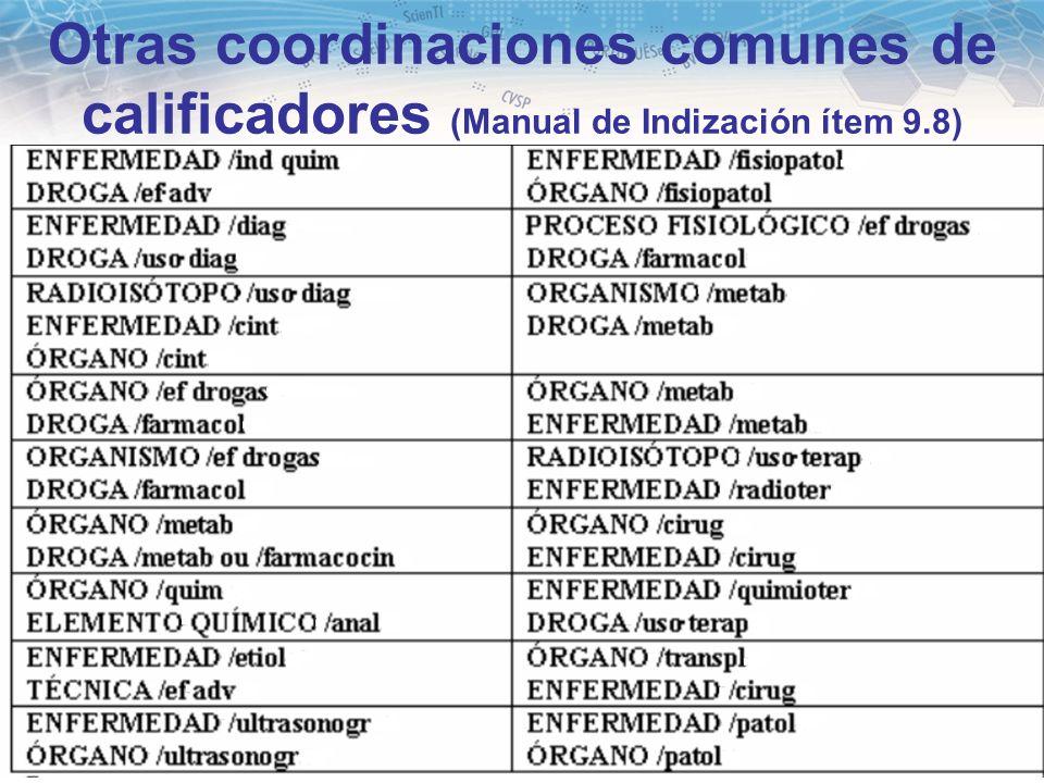 35 Otras coordinaciones comunes de calificadores (Manual de Indización ítem 9.8)
