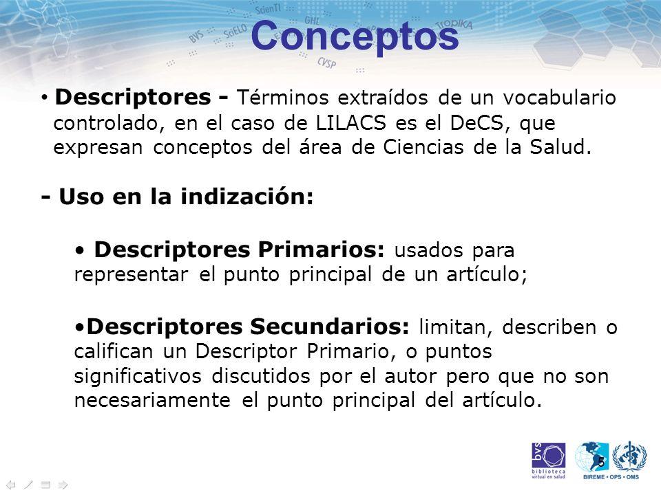 6 Conceptos Descriptores Primarios - Ejemplos: Órganos (ej.: HÍGADO); Enfermedades (ej.: HEPATITIS); Organismos (ej.: VIH-1) Compuestos Químicos (ej.: ASPIRINA) Terapias (ej.: TERAPIA DE GEN) Funciones (ej.: DIGESTIÓN) Descriptores Secundarios - Ejemplos: Técnicas y métodos de investigación (MICROSCOPÍA ELECTRÓNICA).
