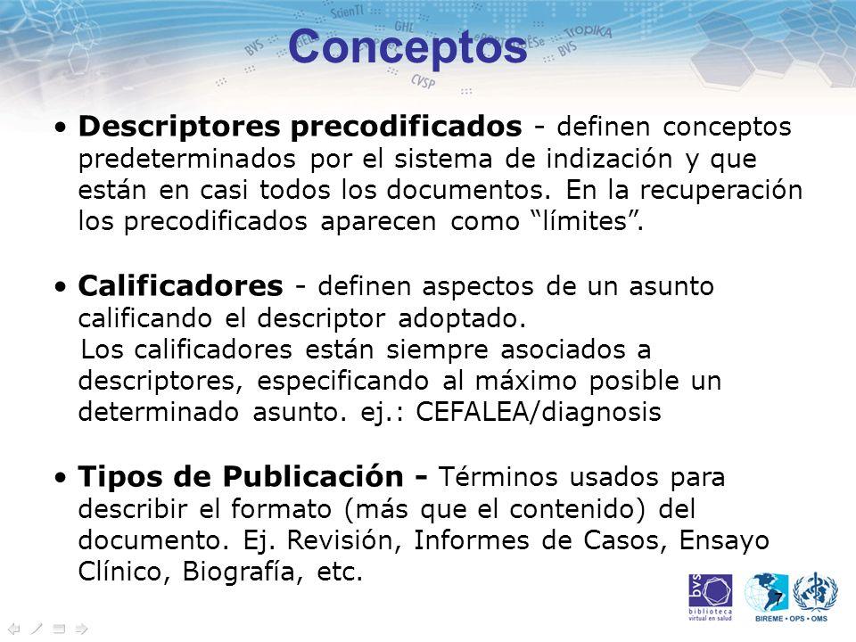 7 Conceptos Descriptores precodificados - definen conceptos predeterminados por el sistema de indización y que están en casi todos los documentos. En