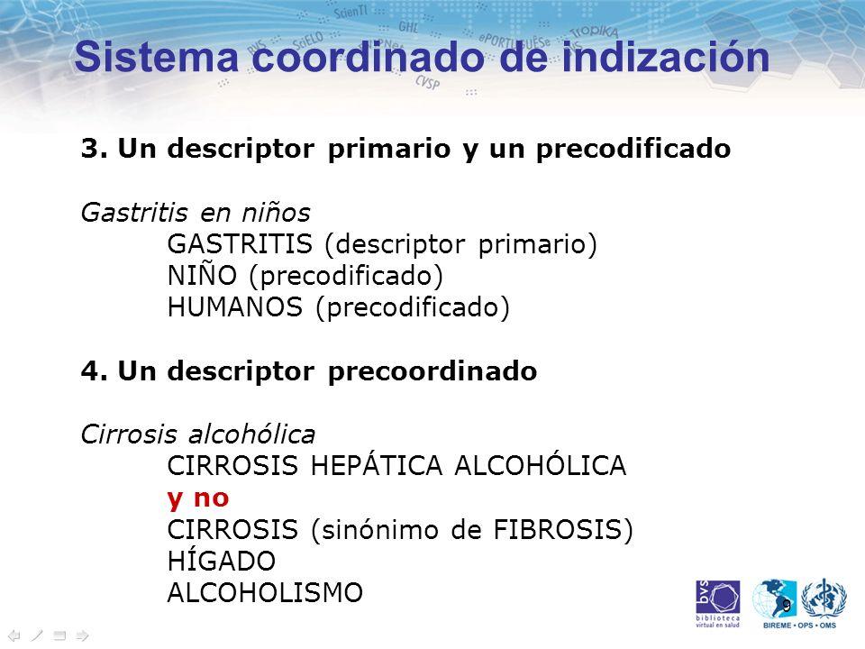 9 3. Un descriptor primario y un precodificado Gastritis en niños GASTRITIS (descriptor primario) NIÑO (precodificado) HUMANOS (precodificado) 4. Un d