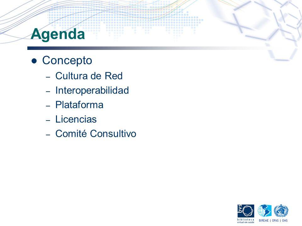 Agenda Concepto – Cultura de Red – Interoperabilidad – Plataforma – Licencias – Comité Consultivo