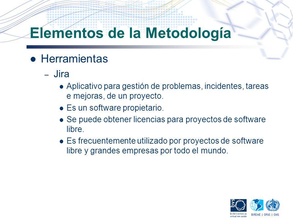 Elementos de la Metodología Herramientas – Jira Aplicativo para gestión de problemas, incidentes, tareas e mejoras, de un proyecto. Es un software pro