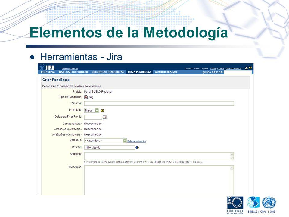 Elementos de la Metodología Herramientas - Jira