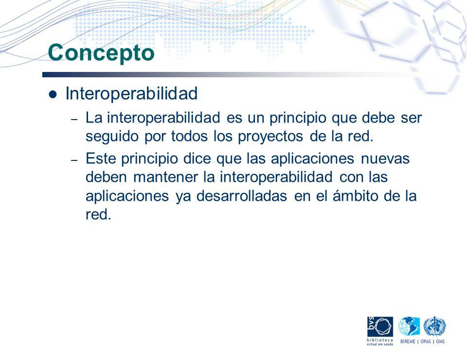 Concepto Interoperabilidad – La interoperabilidad es un principio que debe ser seguido por todos los proyectos de la red. – Este principio dice que la