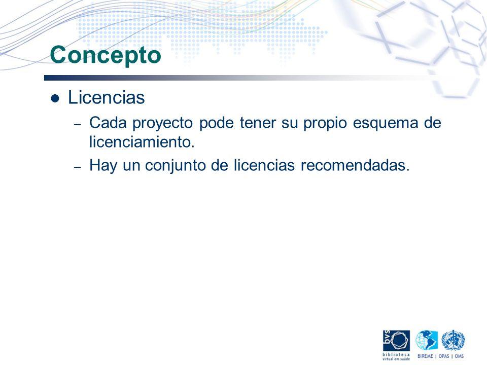 Concepto Licencias – Cada proyecto pode tener su propio esquema de licenciamiento. – Hay un conjunto de licencias recomendadas.