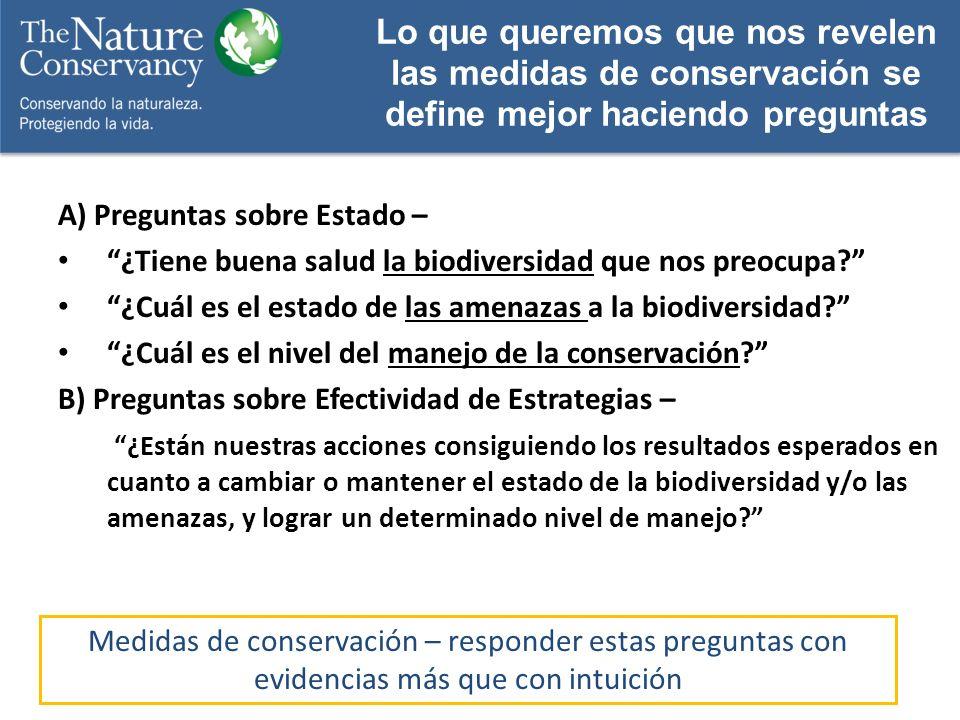 A) Preguntas sobre Estado – ¿Tiene buena salud la biodiversidad que nos preocupa? ¿Cuál es el estado de las amenazas a la biodiversidad? ¿Cuál es el n
