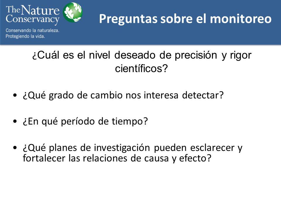 ¿ Cuál es el nivel deseado de precisión y rigor científicos? ¿Qué grado de cambio nos interesa detectar? ¿En qué período de tiempo? ¿Qué planes de inv