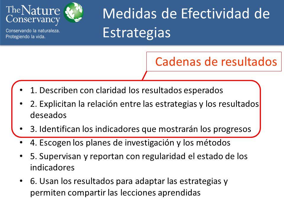 1. Describen con claridad los resultados esperados 2. Explicitan la relación entre las estrategias y los resultados deseados 3. Identifican los indica
