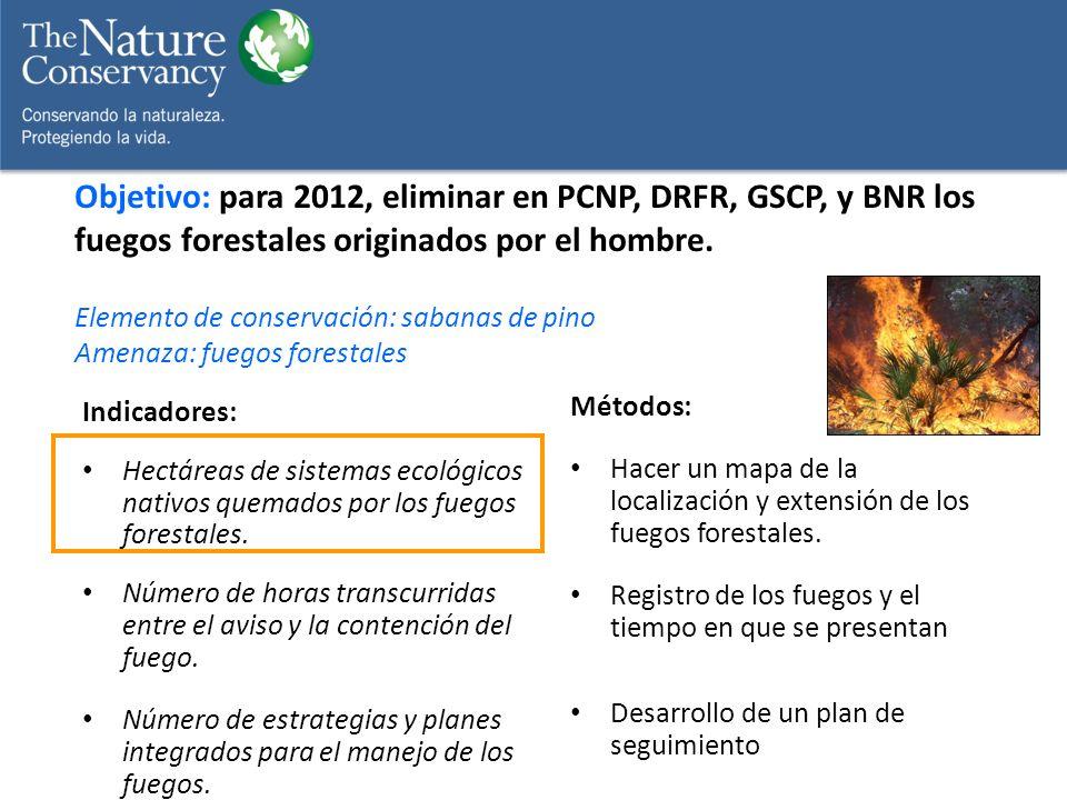 Indicadores: Hectáreas de sistemas ecológicos nativos quemados por los fuegos forestales. Número de horas transcurridas entre el aviso y la contención