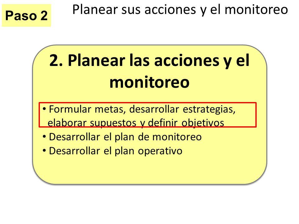 Paso 2 Planear sus acciones y el monitoreo 2. Planear las acciones y el monitoreo Formular metas, desarrollar estrategias, elaborar supuestos y defini