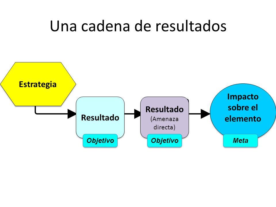 Una cadena de resultados Estrategia Resultado (Amenaza directa) Resultado (Amenaza directa) Impacto sobre el elemento Objetivo Meta