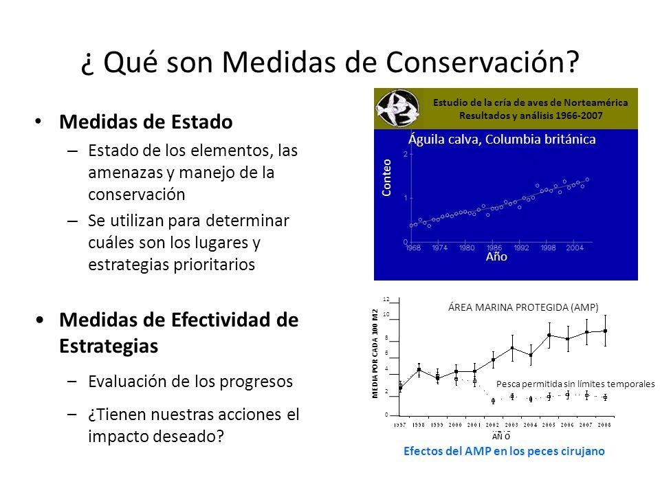 ¿ Qué son Medidas de Conservación? Medidas de Estado – Estado de los elementos, las amenazas y manejo de la conservación – Se utilizan para determinar