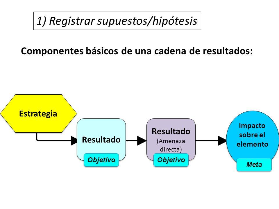 Componentes básicos de una cadena de resultados: 1) Registrar supuestos/hipótesis Estrategia Resultado (Amenaza directa) Resultado (Amenaza directa) I