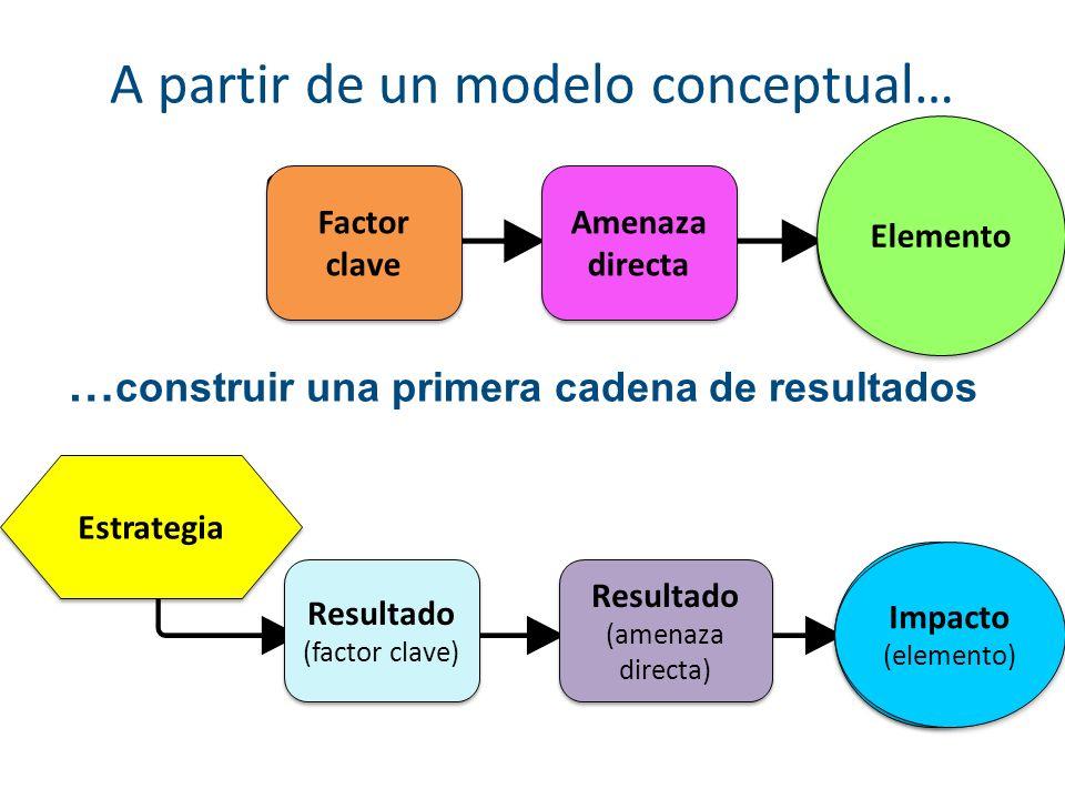 A partir de un modelo conceptual… … construir una primera cadena de resultados Factor clave Amenaza directa Resultado (factor clave) Resultado (factor