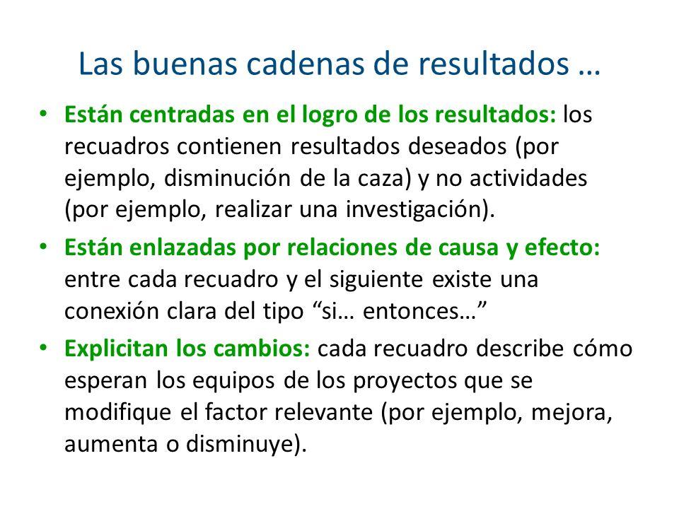 Las buenas cadenas de resultados … Están centradas en el logro de los resultados: los recuadros contienen resultados deseados (por ejemplo, disminució