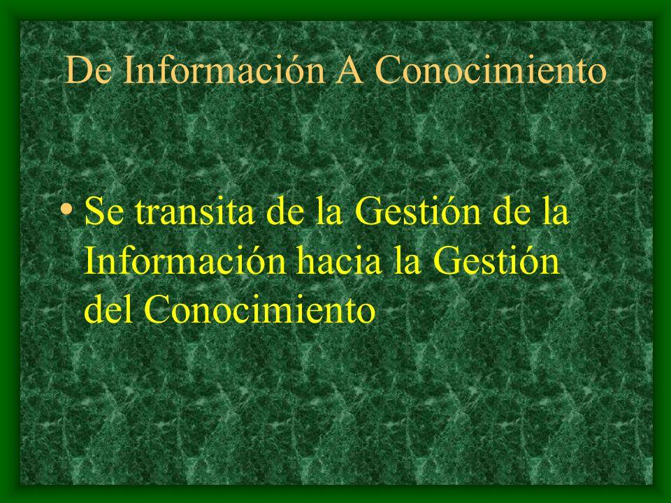 De Información A Conocimiento No bastaba con gestionar correctamente la información, era preciso que ésta incrementara las competencias de su personal