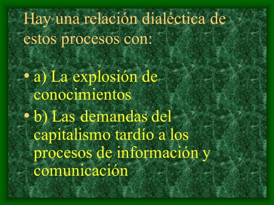 Hay una relación dialéctica de estos procesos con: a) La explosión de conocimientos b) Las demandas del capitalismo tardío a los procesos de información y comunicación