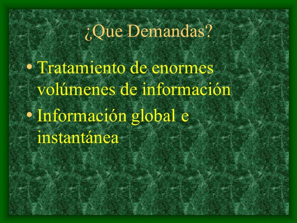 ¿Que Demandas? Tratamiento de enormes volúmenes de información Información global e instantánea
