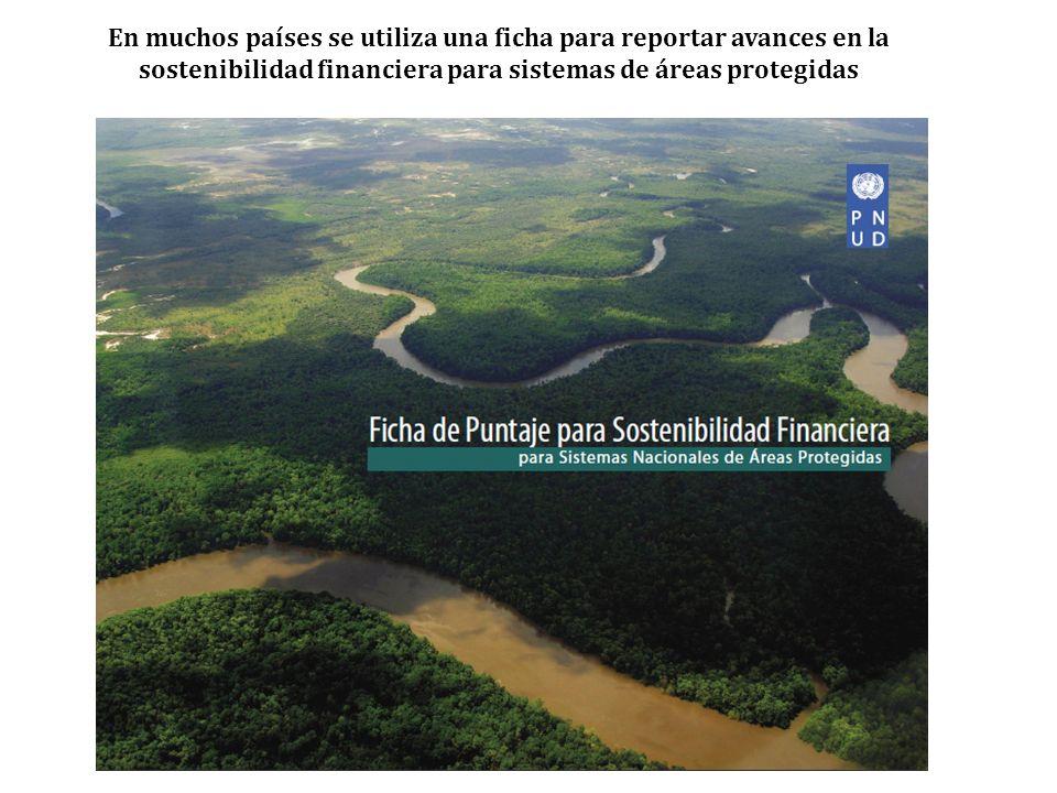 En muchos países se utiliza una ficha para reportar avances en la sostenibilidad financiera para sistemas de áreas protegidas