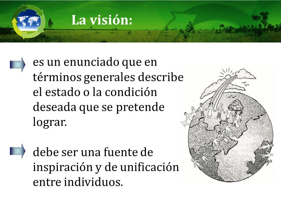 La visión: es un enunciado que en términos generales describe el estado o la condición deseada que se pretende lograr. debe ser una fuente de inspirac