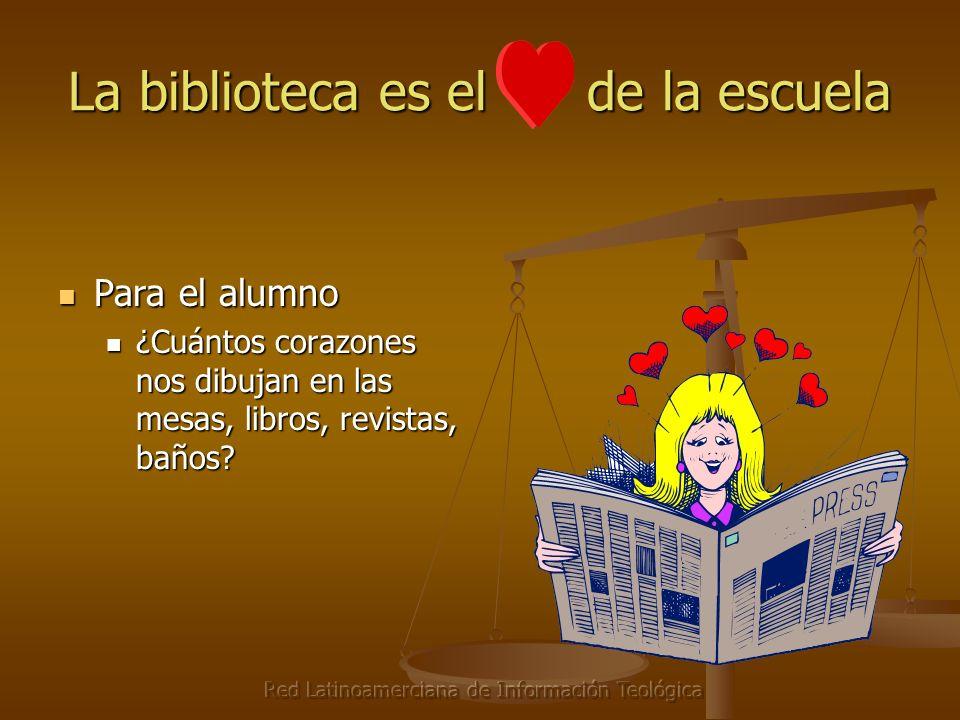 Red Latinoamerciana de Información Teológica La biblioteca es el de la escuela Para el alumno Para el alumno ¿Cuántos corazones nos dibujan en las mesas, libros, revistas, baños.