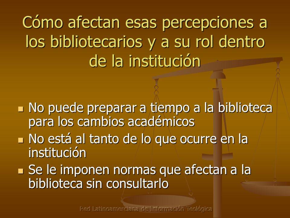 Red Latinoamerciana de Información Teológica Cómo afectan esas percepciones a los bibliotecarios y a su rol dentro de la institución No puede preparar