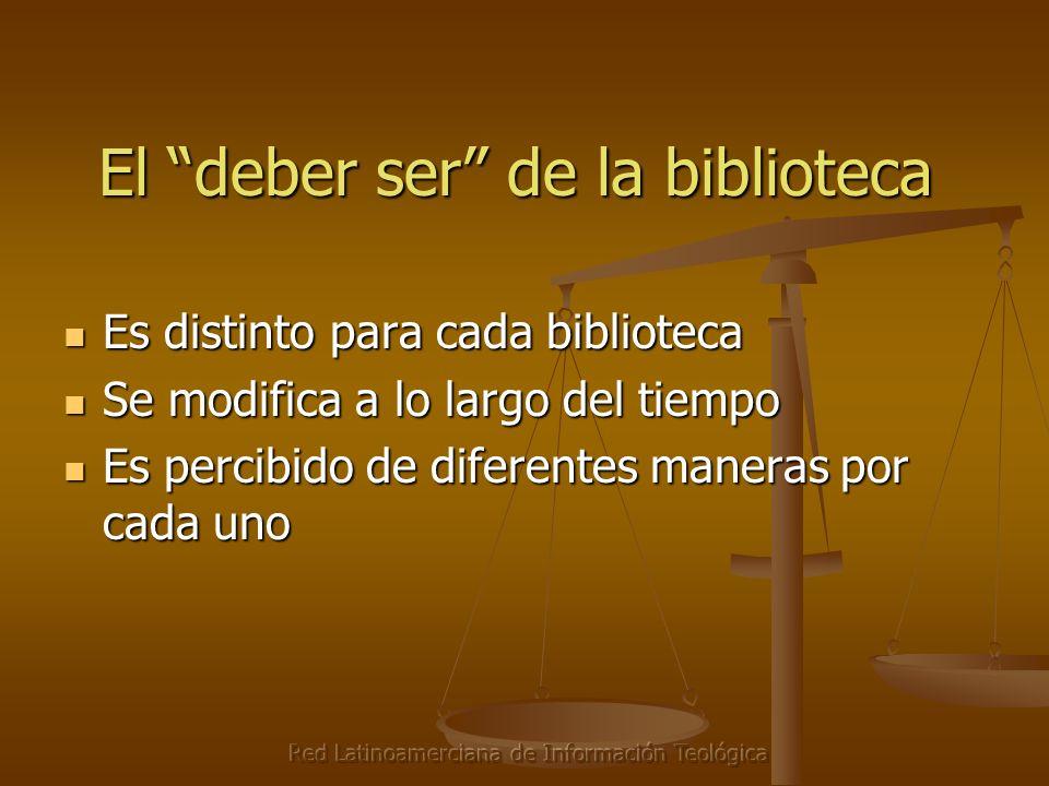 Red Latinoamerciana de Información Teológica El deber ser de la biblioteca Es distinto para cada biblioteca Es distinto para cada biblioteca Se modifica a lo largo del tiempo Se modifica a lo largo del tiempo Es percibido de diferentes maneras por cada uno Es percibido de diferentes maneras por cada uno