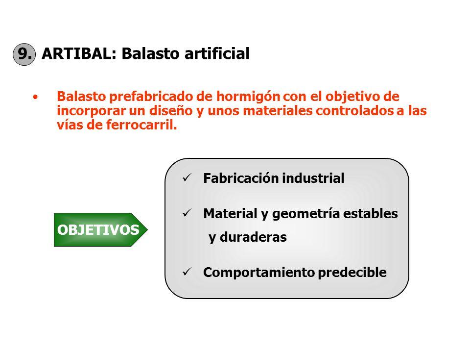 9. ARTIBAL: Balasto artificial Balasto prefabricado de hormigón con el objetivo de incorporar un diseño y unos materiales controlados a las vías de fe