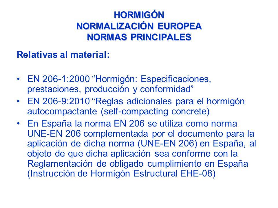HORMIGÓN NORMALIZACIÓN EUROPEA NORMAS PRINCIPALES Relativas a las aplicaciones: Eurocódigo 2 (EN 1992-1:1991) Proyecto de Estructuras de Hormigón -1-1: Reglas generales y reglas para edificación -1-2: Proyecto de estructuras sometidas a fuego -2: Reglas de diseño en puentes de hormigón -3: Depósitos y estructuras de contención Eurocódigo 8 (EN 1998-1:1991) Proyecto para la resistencia al sismo de las Estructuras