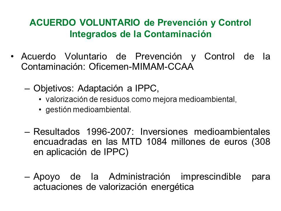 Acuerdo Voluntario de Prevención y Control de la Contaminación: Oficemen-MIMAM-CCAA –Objetivos: Adaptación a IPPC, valorización de residuos como mejora medioambiental, gestión medioambiental.