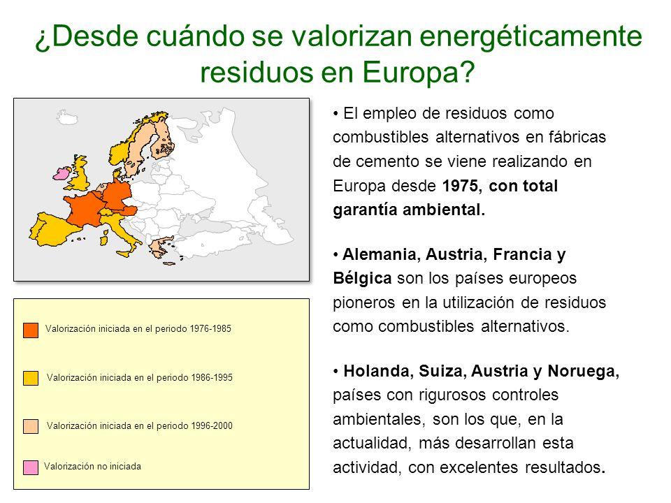 ¿Desde cuándo se valorizan energéticamente residuos en Europa.