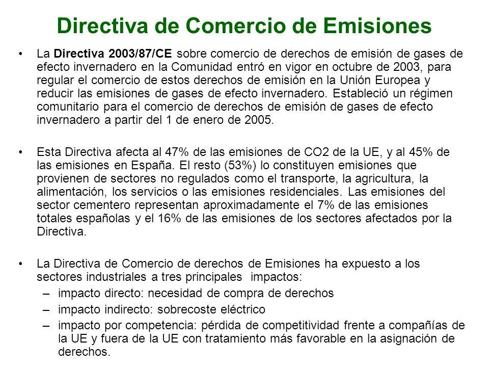 Directiva de Comercio de Emisiones La Directiva 2003/87/CE sobre comercio de derechos de emisión de gases de efecto invernadero en la Comunidad entró en vigor en octubre de 2003, para regular el comercio de estos derechos de emisión en la Unión Europea y reducir las emisiones de gases de efecto invernadero.
