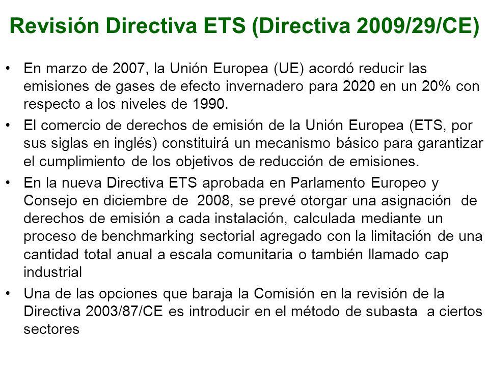 Revisión Directiva ETS (Directiva 2009/29/CE) En marzo de 2007, la Unión Europea (UE) acordó reducir las emisiones de gases de efecto invernadero para 2020 en un 20% con respecto a los niveles de 1990.