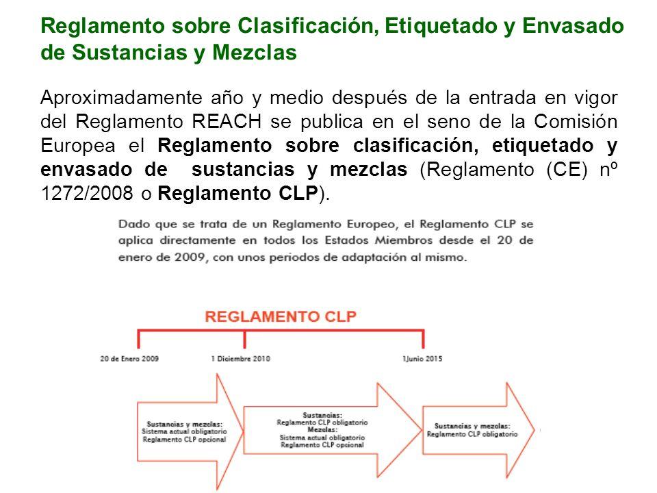 Aproximadamente año y medio después de la entrada en vigor del Reglamento REACH se publica en el seno de la Comisión Europea el Reglamento sobre clasificación, etiquetado y envasado de sustancias y mezclas (Reglamento (CE) nº 1272/2008 o Reglamento CLP).