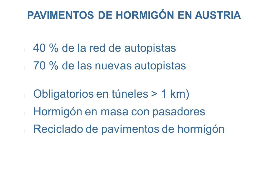PAVIMENTOS DE HORMIGÓN EN AUSTRIA l 40 % de la red de autopistas l 70 % de las nuevas autopistas l Obligatorios en túneles > 1 km) l Hormigón en masa
