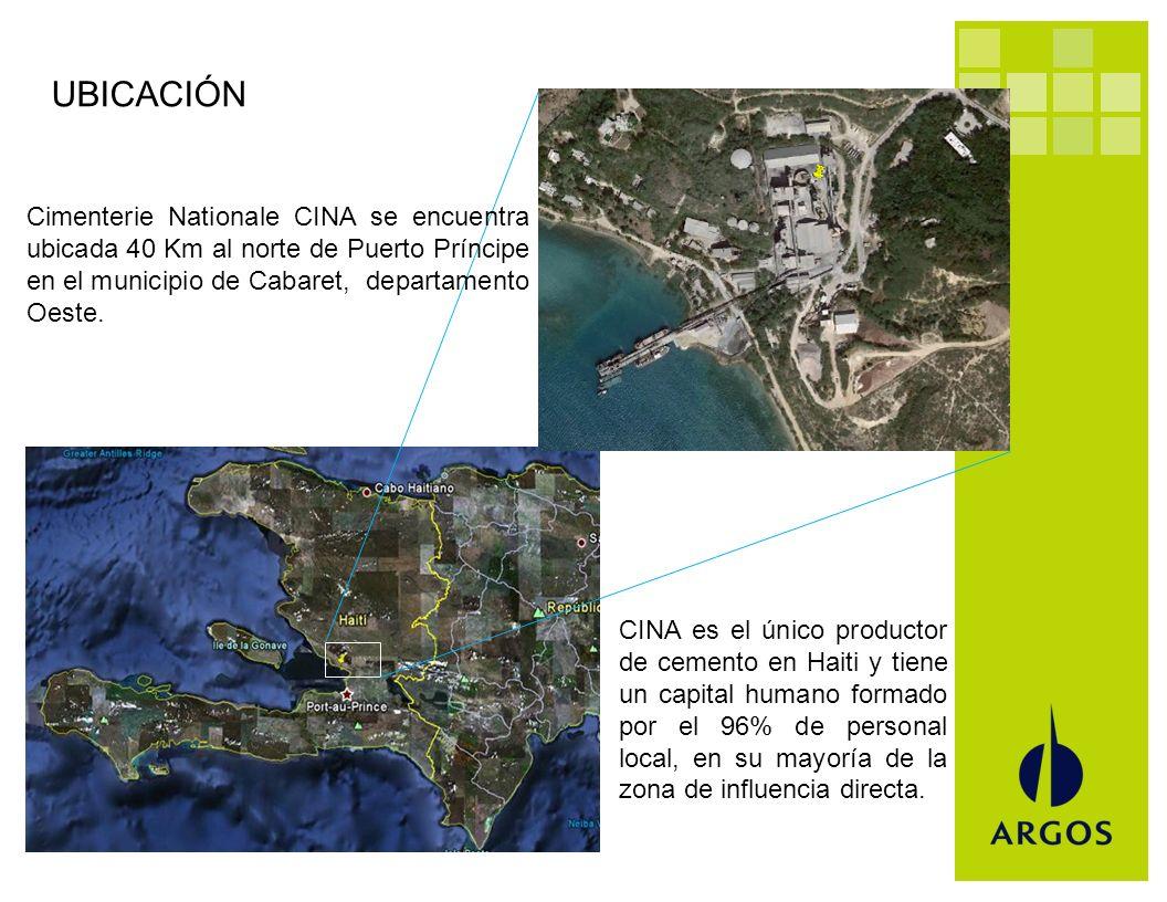 Cimenterie Nationale CINA se encuentra ubicada 40 Km al norte de Puerto Príncipe en el municipio de Cabaret, departamento Oeste. CINA es el único prod