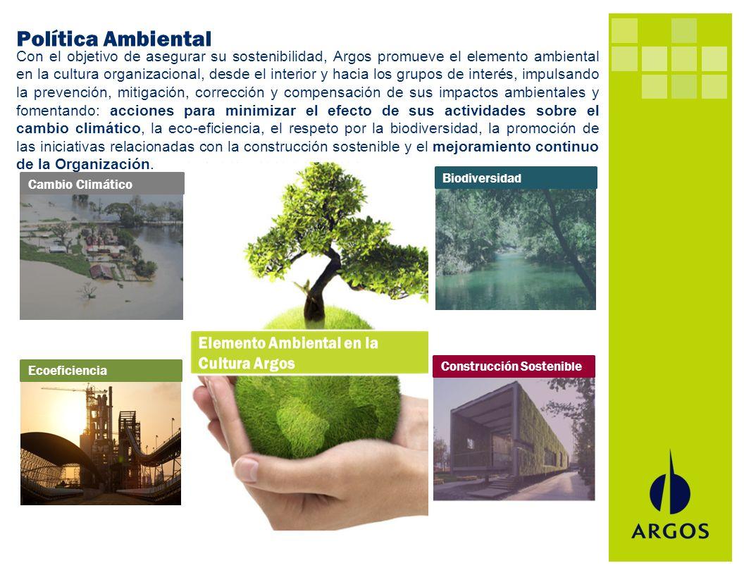 Con el objetivo de asegurar su sostenibilidad, Argos promueve el elemento ambiental en la cultura organizacional, desde el interior y hacia los grupos
