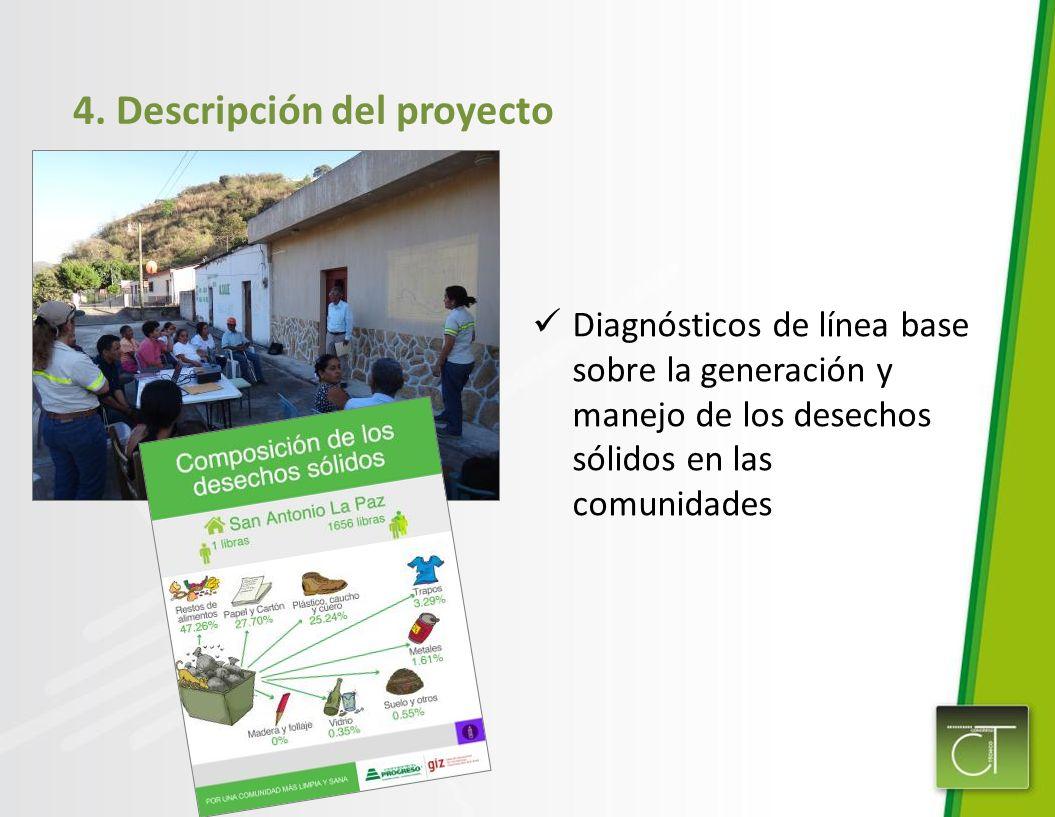 4. Descripción del proyecto Diagnósticos de línea base sobre la generación y manejo de los desechos sólidos en las comunidades